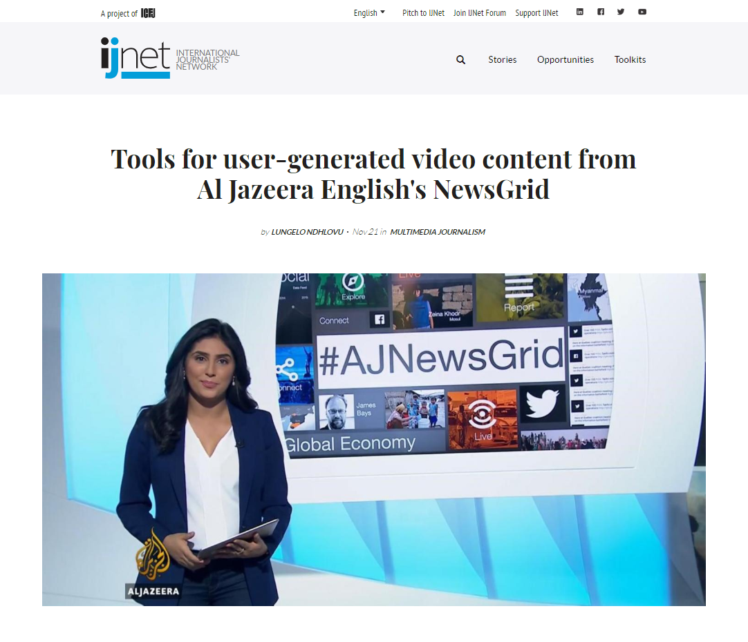 Tools for user-generated video content from Al Jazeera English's NewsGrid